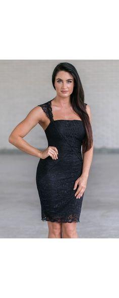 Lily Boutique Mia Lace Sheath Dress in Black, $38 Black Lace Cocktail Dress…
