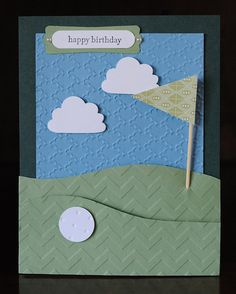 Golf course birthday pocket card handmade blank by Cardsters
