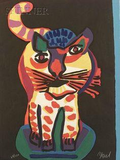 Karel Appel Foundation Tigre (serie Appel's Circus) (inspired by art enfantin). Tachisme, Art Cobra, Bridget Riley Op Art, Op Art Lessons, Art Informel, Art Optical, Optical Illusions, Circus Art, Art Brut