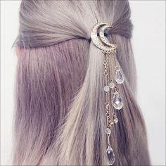 Новинка 2017 года Очаровательная золото/серебро/черный/розовое золото Цвет Кристалл Луны зажим для волос кистями длинные волосы Аксессуары Femme Bijoux купить на AliExpress