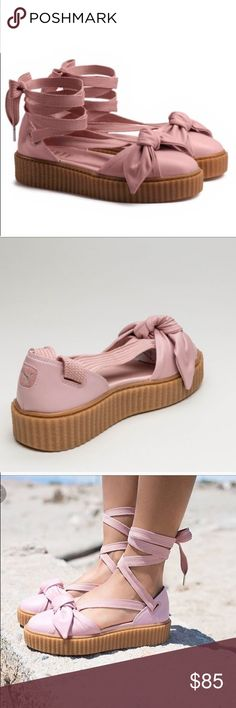 """[Puma] Rihanna Fenty Bow Creeper Sandals A twist on the beloved classic Creeper from Rihanna's inaugural footwear drop for PUMA. This Creeper Bow Sandal takes the Creeper sole and creates a spring espadrille style look with the laces and bow details. BNWT, excellent condition, no flaws or defects.   Features  Gum Creeper Sole Soft Leather Upper with a bow construction on the toe Long Sneaker Laces for a wrap-around-the-ankle closure; 30"""" length from toe bed to end of lace Puma Shoes…"""