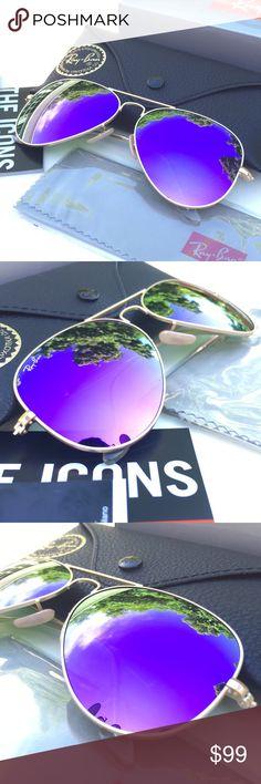 Authentic RAY-BAN AVIATOR Sunglasses -Violet Flash 100% AUTHENTIC & BRAND NEW  Original RAY-BAN AVIATOR Sunglasses Violet Flash - Gold Frame Model: RB3025 112/68F (62mm)  -----------------------------------------------------------------  Product Descripti