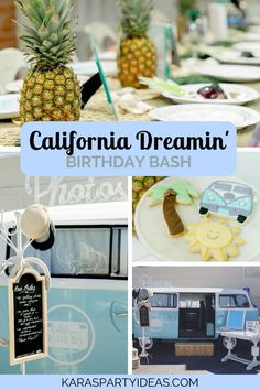 Catch a wave and smell the ocean breeze inside this California Dreamin' Birthday Bash here at Kara's Party Ideas. 13th Birthday Parties, Birthday Bash, Birthday Party Themes, Swimming Party Ideas, Going Away Parties, Buffet, Party Themes For Boys, Graduation Party Invitations, California Dreamin'