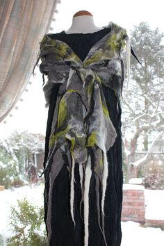Art To Wear  Nuno felted silk wool shawl  Grey, green,white  & black by Angelab5705