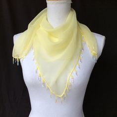 Items similar to Yellow chiffon scarf beaded trim, Birthday gift for Wife, Anniversary Gift Idea, Wedding Sparkly Head scarf, Cancer survivor gift ideas on Etsy Gifts For Wife, Gifts For Her, Birthday Gift For Wife, Lace Scarf, Beaded Trim, Crochet Trim, Anniversary Gifts, Anniversary Decorations, Gift Ideas