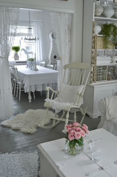 `Just our style..love the white clean Shabby Chic in these rooms. www.dirtygirlfarm.com