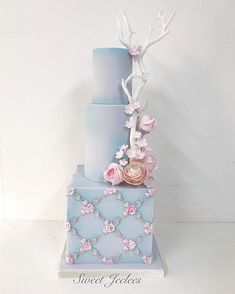 So sweet! Cake by Sometimes less really is more Absolutely loved creating this lightly airbrushed simple yet elegant pastel blue wedding cake. Square Wedding Cakes, Wedding Cake Photos, Elegant Wedding Cakes, Beautiful Wedding Cakes, Wedding Cake Designs, Wedding Cake Toppers, Beautiful Cakes, Wedding Unique, Fall Wedding Cakes