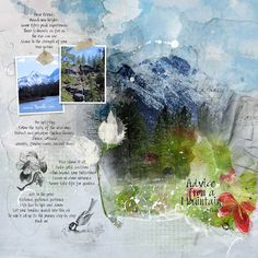 Advice from a Mountain Sketchbook Ideas, Sketchbook Inspiration, Photo Layers, Paper Background, Word Art, Some Fun, White Flowers, Digital Scrapbooking, Layouts
