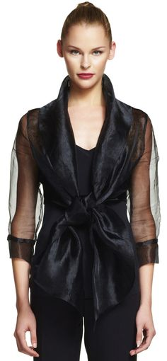 Organza wrap jacket with tie front collar - Adrianna Papell