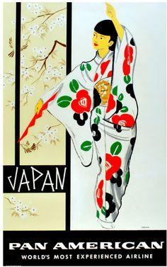 Japan - Pan Am, Amspoker #vintage #travel #poster