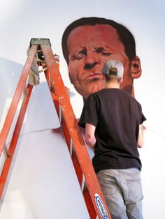 Starting with the face of the David mural at the www.vermillionseattle.com gallery Day #2.  #graffiti #weirdo #spraypaint