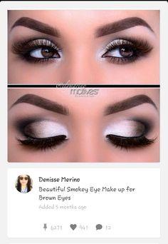 Beautiful smokey eye make up Gorgeous Makeup, Pretty Makeup, Love Makeup, Silver Eye Makeup, Makeup For Green Eyes, Smokey Eye For Brown Eyes, Smoky Eye, Best Eyeshadow For Brown Eyes, Bridal Makeup