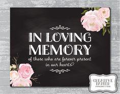 In Loving Memory sign  Peony Flower In Loving Memory Sign 8x10 DIY by CreativePapier, $5.00