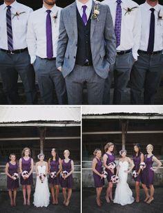 purple bridesmaid dress grey suits