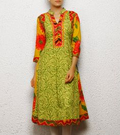 Green Cotton Anarkali Kurta