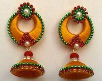 Jewellery | Silk Thread | Yellow Chandbali | CardsNCrafts