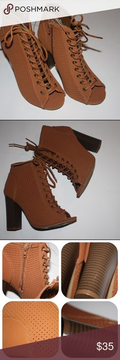 """▪Perforated Brown, Beige Lace up Ankle Booties▪ Brand new without tags. Size is 6. The heel measures 4"""" tall. Marks on the heels as seen in the pictures. Bamboo brand. Sorry no trades. If you have any questions please ask. If you don't like the price please use the offer button. Have an amazing day! """"Great Sense of Style"""" bamboo Shoes Ankle Boots & Booties"""