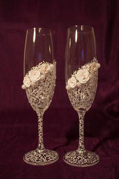 Свадебные бокалы. Ажурные.