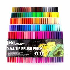 Watercolor Pen Brush Markers Dual Tip Fineliner Drawing for Coloring [120 #Unbranded