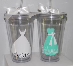 Personalized Bridesmaid Gift Wedding Tumbler- Flower Girl Ring Bearer- Any Color Any Design Custom on Etsy, $9.50