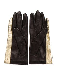 Black and gold leather Diane von Furstenberg gloves with tonal stitching and silk lining. Gold Gloves, Leather Gloves, Diane Furstenberg, Patek Phillippe, Gold Leather, Accessories Shop, Women Swimsuits, Luxury Consignment, Winter