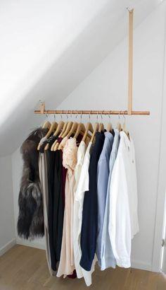 dressing room build ideas wardrobe walk-in wardrobe roofing - Ankleidezimmer - Attic Closet, Closet Bedroom, Closet Space, Diy Bedroom, Closet Rod, Dormer Bedroom, Garage Attic, Bedroom Rustic, Wood Bedroom