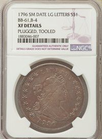 1796 $1 Small Date, Large Letters, B-4, BB-61, R.3 -- Plugged, Tooled -- NGC Details. XF
