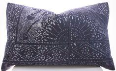 Chinese Indigo Batik Pillow Cover Vintage Textile by BohoPillow