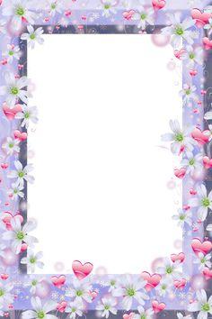 Marco violeta PNG transparente con flores y corazones