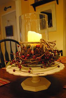 "DIY Christmas candle.  Like this?  Click for more ""glitzy rustic"" DIY Christmas ideas!"
