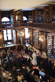 what a great find for a ceremony locale! this is the library on the second floor of the Brooklyn Historical Society. thanks to @Style Me Pretty for sharing it today!