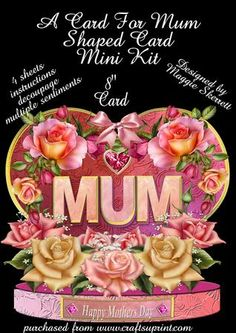 A Card for Mum Mothers Day Shaped Card Mini Kit on Craftsuprint - Add To Basket!