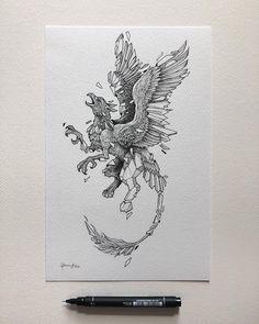 Sketch Beast Pen Drawing - Mythical Geo Beas Ink Pen Drawings Ink Drawing Techniques Ink Creatures Drawing Sketch Beast Beast Pen Aa Beast Rose Drawings Rose Pen Drawing With Gl. Ink Pen Drawings, Art Drawings Sketches, Rose Drawings, Tattoo Drawings, Geometric Drawing, Geometric Art, Griffin Tattoo, Creature Drawings, Ink Illustrations