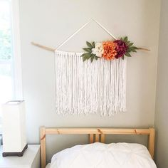 Yarn Wall Hanging with Faux Flowers Macrame wall hanging
