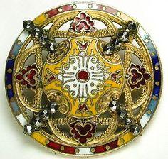"Antique French Enamel Button Pierced Colorful Floral w/ Cut Steels 1 7/16"""
