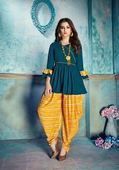 Aaryahi Gorgeous Rayon Women's Kurta Sets Fabric: Kurta - Rayon, Dhoti - Rayon Sleeves: Sleeves Are Included Size: Kurta - L - 40 i. Stylish Dress Designs, Stylish Dresses For Girls, Fancy Blouse Designs, Frocks For Girls, Girls Dresses, Kids Frocks, New Dress Design Indian, Dress Indian Style, Pakistani Dress Design