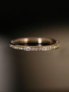 White Sapphire, Yellow Gold Ring. Engagement Ring and Wedding Band. Ritani - Eternity Band