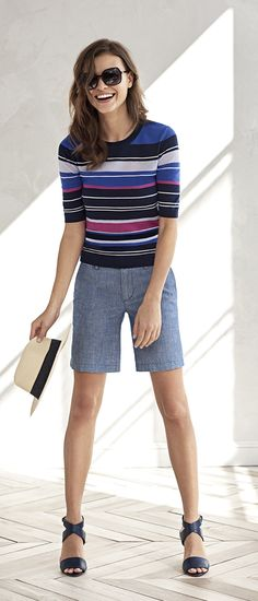 A lightweight sweater, tailored shorts, sandals, and a chic fedora is all you need for a stylish summer   Banana Republic