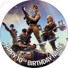 "EDIBLE Fortnite Birthday Party Cake Topper Wafer Paper Round 7.5"" (uncut) video game games boy diy idea ideas decor decorating decoration decorations"