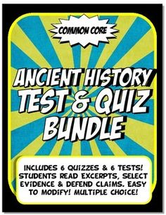 These assessments are Common Core, editable and multiple choice! The 15 question quiz is content vocabulary and academic vocabulary based. The 30 question test is divided into three parts:*Part I has students match key content to the big ideas for social science (geography, economy, government, achievements, social classes and religion).*Part II has students read and make inferences from the content rich text.  *Part III has students select evidence from primary source quotes, excerpts and…