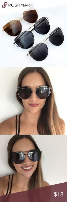 Metal Cateye Sunglasses Brand new! Oversized metal cateye sunglasses. Available in silver and grey, black and black, and brown and gold.  ❌No trades ❌Poshmark Transactions Only ❌No asking for the lowest price Accessories Sunglasses