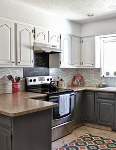 Grey and white kitchen makeover. House For Five featured on Remodelaholic