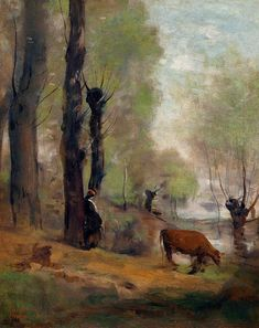 Peasant Woman Watering Her Cow - Camille Corot, c. 1865 / WikiArt.org - the encyclopedia of painting