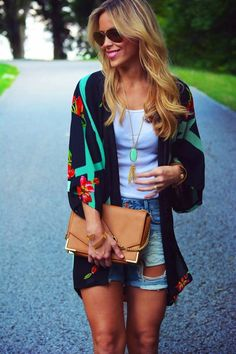 Light Kimono Jacket With Jeans Shorts