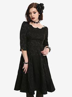 Black Brocade Scalloped Neckline Swing Dress, BLACK