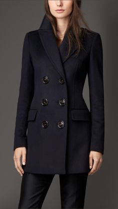 A wool cashmere military coat with distinctive oversize buttons. Cut a feminine fit, the double-breasted design features tapered seams and a back kick pleat. Woolen Tops, Iranian Women Fashion, Shearling Coat, Fashion Sewing, Cute Fashion, Fashion Ideas, Timeless Fashion, Coats For Women, Plus Size Fashion
