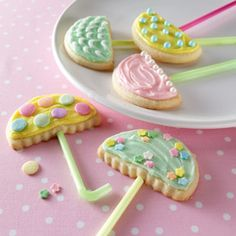 These April Showers Umbrella Cookies are adorable! #recipes