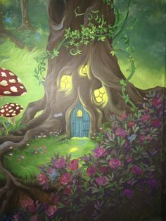 Enchanted forest bedroom mural - Fairy tree house in normal light #HannonArtWorks