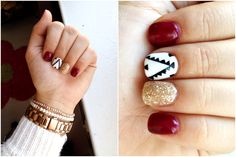 Red/burgundy nails with gold glitter and geometric tribal pattern