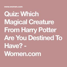 Quiz: Which Magical Creature From Harry Potter Are You Destined To Have? - Women.com